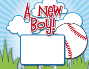 Baseball Birth Announcement with picture box