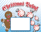 Christmas Candy Birth Announcement with picture box