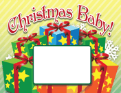 Christmas Presents Birth Announcement with picture box