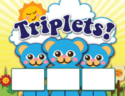 Triplet Animals Birth Announcement with picture box