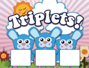 Triplet Bunnies Birth Announcement with picture box