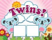 Twin Koalas Birth Announcement with picture_box